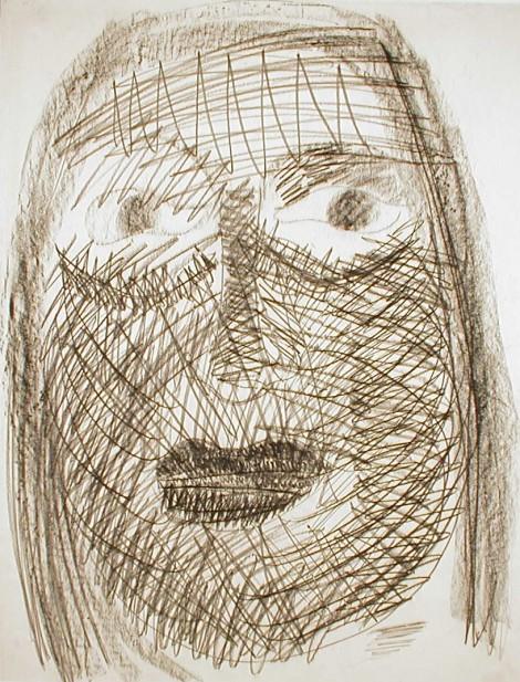Truus Kardol, zonder titel (zelfportret), 1960-64, houtskool op papier, afm. 65 x 50 cm.