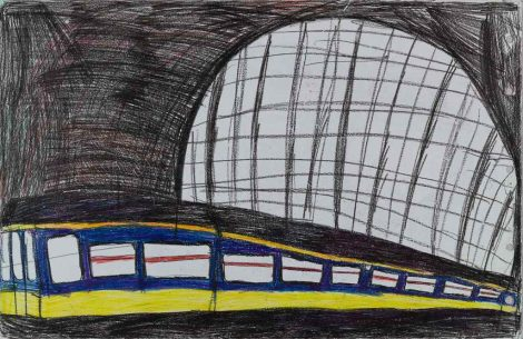 Wenzel, Roy; Untitled (Central Station Amsterdam, n.d., mixed media, 65x100 cm. OS0503012b