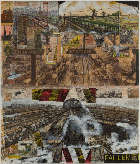 Willem van Genk; Centraal Station Amsterdam, c.1950-1966, mixed media and collage on paper, 130x110,5 cm