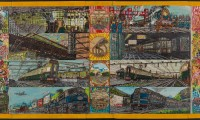 Van Genk, Willem; Great Railroads of the World, c. 1970, mixed media op hardboard, 68x133 cm.