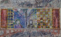 Van Genk, Willem; Zagreb, 1994-95, ballpoint drawing and collage, 87,5x140 cm, SH6080, photo: Marcel Köppen
