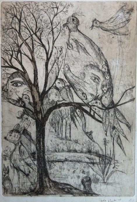 Sluiter, Paula; Untitled, 1968, etching, 37x27,5 cm.