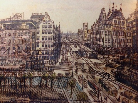 Willem van Genk, Amsterdam Damrak, drawing mixed media, part. coll.