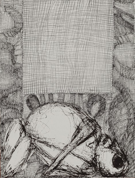 Koczÿ, Rosemarie; I weave you a shroud, 1989, ink on paper, 35,5x27 cm.