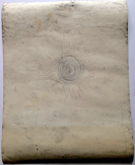 Kardol, Truus; preliminary sketch on the back of a drawing, ca. 1960, 65x50 cm.