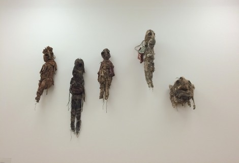 "Group of ""poupée's"" and ""masque"" by Michel Nedjar in De Stadshof show in Gemeentemuseum Den Haag, 2015."