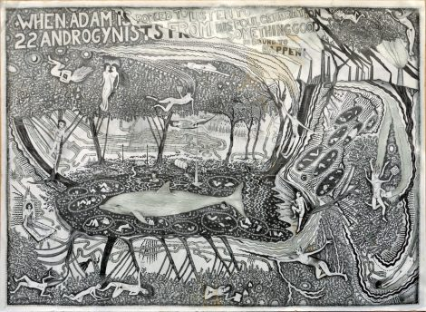 Hipkiss; When Adam is forced..., 1992, silver ink and graphite on paper, 71x98 cm.